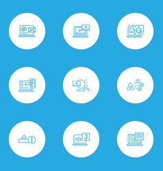 Optimization icons line style set with upload vector