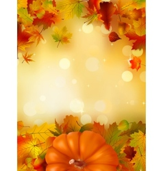 Orange Pumpkin on elegant gold bokeh EPS 8 vector image