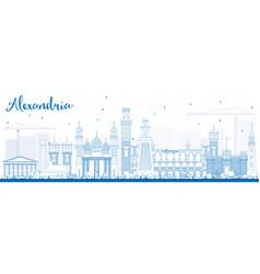 Outline alexandria skyline with blue buildings vector