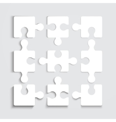 Paper flat puzzle template layout vector image