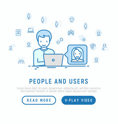 people and users concept vector image