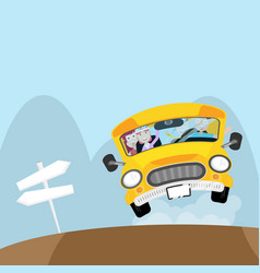 people on bus go to travel in holiday vector image