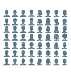 people silhouettes icon avatar vector image