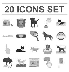 Pet monochrome icons in set collection for design vector