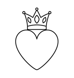 pink heart love crown romantic passion icon vector image