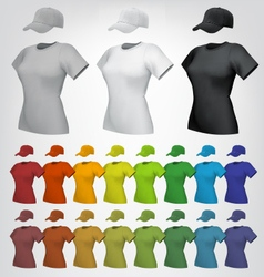 Plain women cap and t-shirt template vector