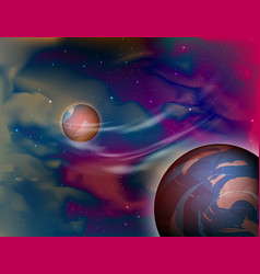 Planet outer space scene vector