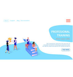 professional training banner with learning people vector image