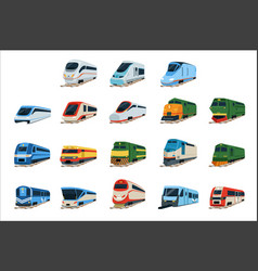 retro and modern trains locomotive set railway vector image