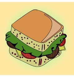 Sandwich Pop art vector image