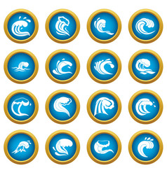 sea waves icons blue circle set vector image