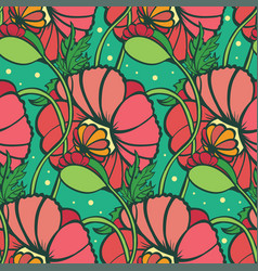 Seamless pattern of flowers and leaves of the vector