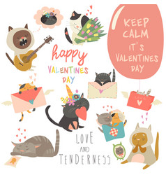 set cartoon characters cats in love vector image