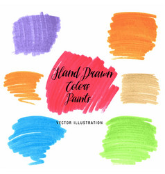 set hand drawn flat grunge stains markers on vector image