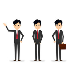 Set handsome young business man in different vector