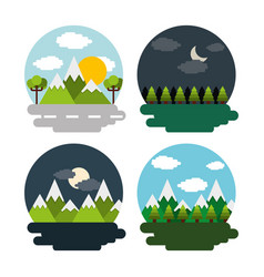 Set of landscape day night mountains forest vector