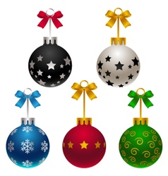 set of matte Christmas baubles with bow vector image