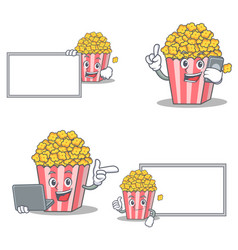 set of popcorn character with board phone laptop vector image