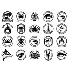 set of seafood market emblems design element for vector image