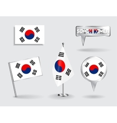 Set of South Korean pin icon and map pointer vector image