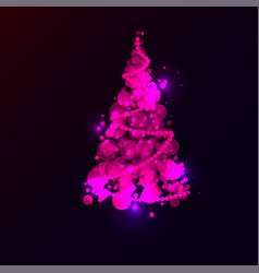 shining pink christmas tree on blue background vector image