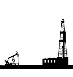 Silhouette of drilling rig and pump vector