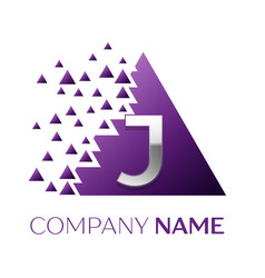 silver letter j logo in the purple pixel triangle vector image