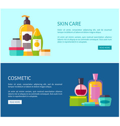 Skincare cosmetic promotional internet pages set vector
