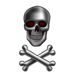 skull with bones vector image