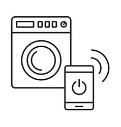 smart wash machine icon outline style vector image