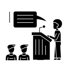 Speaker presentation podium stand icon vector