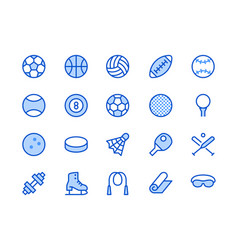 sports equipment blue line icon vector image