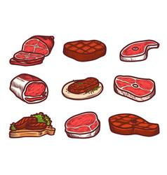 steak icon set hand drawn style vector image