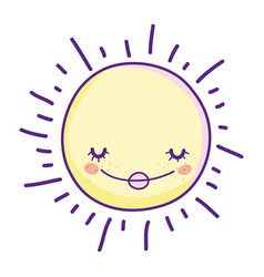 sun smiling cartoon vector image