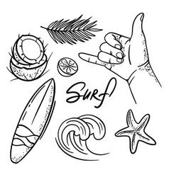 surf vacation sea travel hand drawn vector image