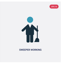two color sweeper working icon from people vector image