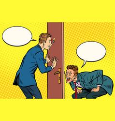 Two men spy each other through door vector