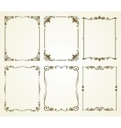 Vintage calligraphic frames set vector