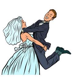 Wedding happy loving bride and groom woman vector