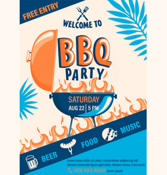 welcome bbq party flyer vector image
