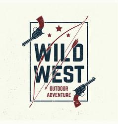 wild west badge t-shirt with indian warrior arrow vector image