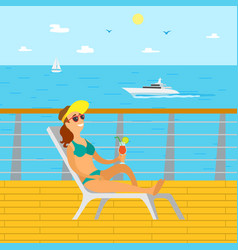 woman relaxing on wooden pier lady on vacation vector image