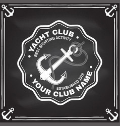 yacht club badge concept for shirt print vector image