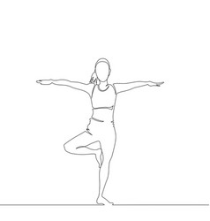 young woman is practicing yoga one line vector image
