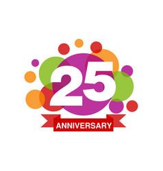 25th anniversary colored logo design happy vector image