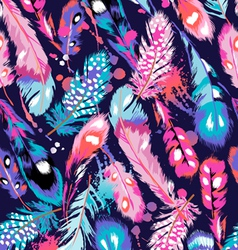 blue and pink feathers on navy background vector image vector image
