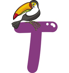 T for toucan vector image