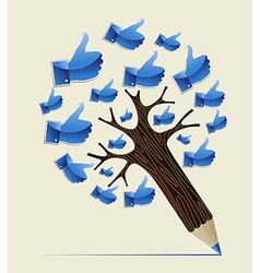 Thumb up OK concept pencil tree vector image vector image