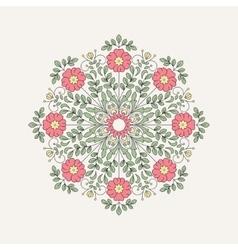 Vintage round flower for design vector image