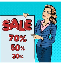 Woman Gesturing on Sale Poster Sale Banner Pop Art vector image